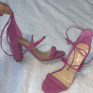 Pink wrap heels, never worn!